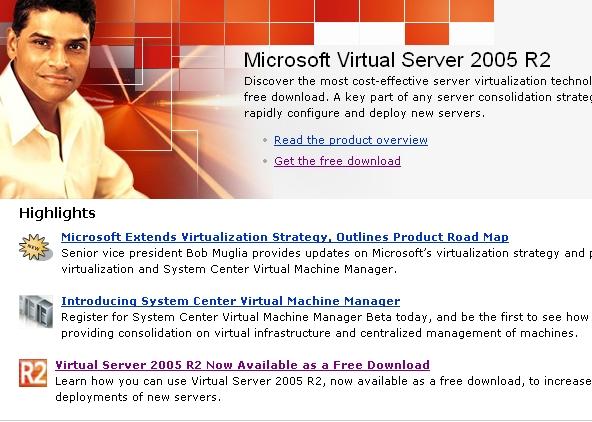 Microsoft Virtual Server 2005 R2 Screenshots