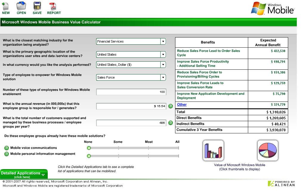 Microsoft Windows Mobile Business Value Calculator