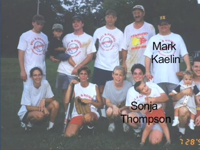 Mark and Sonja on a company softball team in 1999