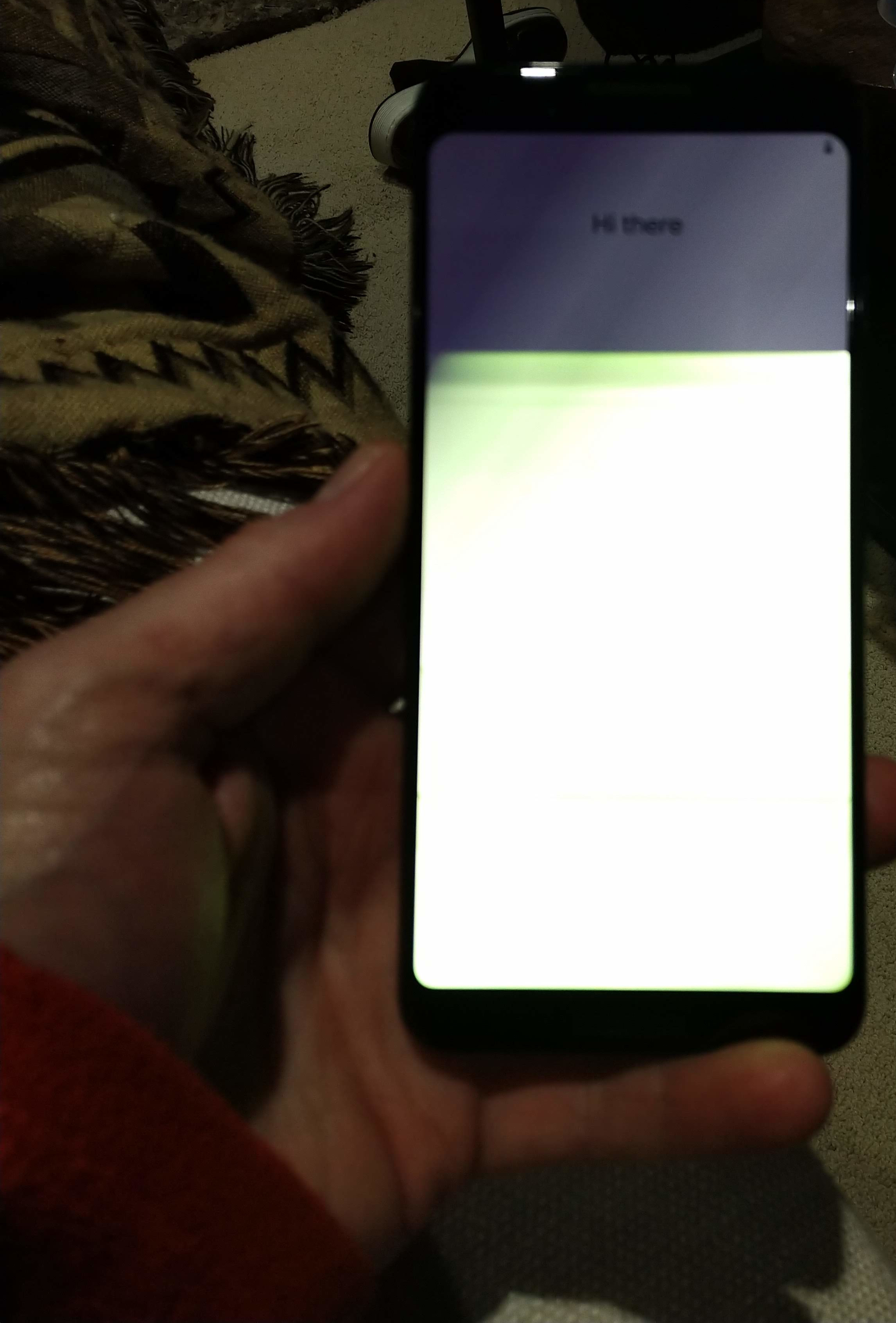 The screen randomly flashed, with a green or white tint.