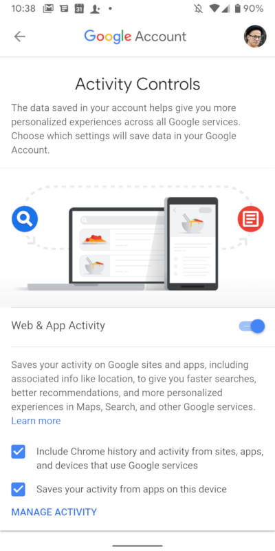 The list of all the activities you can prevent Google from saving is here.