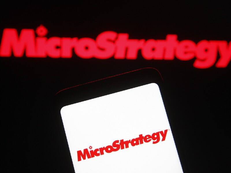 Microstrategy logo on phone screen