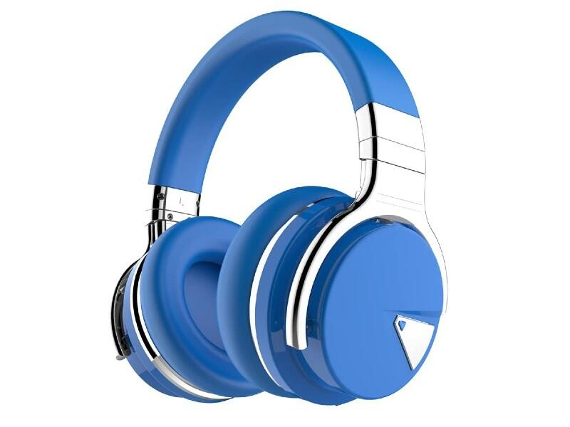 Blue Bluetooth headphones
